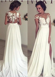 Discount cheap boho winter wedding dresses - Summer Bohemian Chiffon Wedding Dresses Cheap Sheer Crew Neck Lace Appliques High Spplit Hollow Back Boho Beach Long Bri