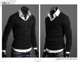 Опт Бесплатная доставка - Новый грибной мужской свитер с пряжкой дизайн мужской свитер с длинными рукавами