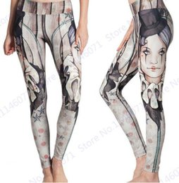 Collants Maigres Pas Cher-Print Hot Hat Party Femmes Pantalons maigres European Dancing Girl Yoga Leggings Haute taille Femmes Sports Fitness Running Tights Grey