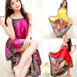3ca29f9b3f Wholesale- Sexy Women Imitated Silk Sleepwear Robes Dress Night Skirt Nighty  Nightgowns