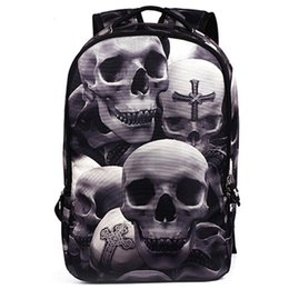 Discount skull laptop backpack - New Fashion Men's Backpack Cool Printing Backpacks Skull Heads Senior High School Bags For Teenage Boys Laptop Moch