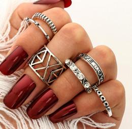 Hollow Fingers Australia - Retro 6Pcs  Set Vuntage Silver Hollow Boho Fashion Arrow Moon Midi Finger Knuckle Rings Jewelry