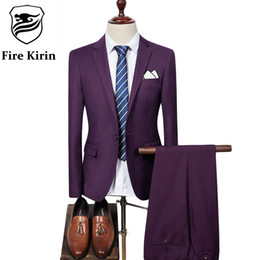 Beige Slim Suits For Men Australia - Wholesale- Fire Kirin Mens Suit 2017 Slim Fit Men Wedding Coat Pants Formal Wear Luxury Purple Suits For Men Blue Black Gray Red Q320