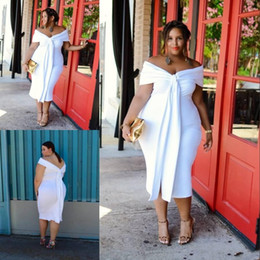 ClassiC tea length dresses online shopping - Sexy White Big Girl Plus Size Prom Dresses Off the Shoulder Tea Length Backless Sleeves Short Evening Gowns Cheap Formal Dress