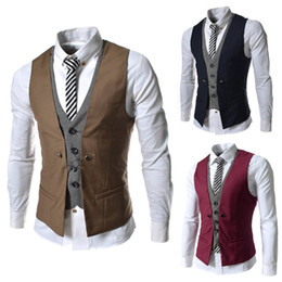 two piece waistcoats Canada - Wholesale- 2015 Spring Fashion New Basic Casual Suit Vest Men,Brand Quality Tank Tops,Faux Two Piece Waistcoat,FreeDrop Ship Plus SizeM-XXL