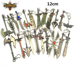 Lol Keychain Weapons Canada - 19 Style 12 CM LOL keychain alloy Draven  Rivan Irelia De Marcia hero Weapon blade Key chain buckle for men B041