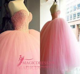 Barato Vestido Cor-de-rosa Do Querido Do Bebê-2017 Quinceanera Vestidos Baby Pink Vestidos de Baile Querida Abrir Atrás Hot Selling Sweet 16 Prom Vestidos Major Beaded Prom Party Gowns