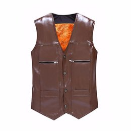 Chinese  Wholesale- TG6312 Cheap wholesale 2016 new More middle-aged and old male leather vest and velvet warm fur shawl vest manufacturers