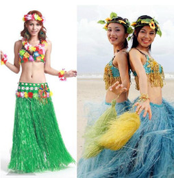 Barato Vestido Saia Flores-Hawaiian Hula Grass Skirt Flower Dress Beach Dance Veste vestido de dança do ventre Festa Trajes Flower Hula Grass Skirt 1000pcs OOA2371