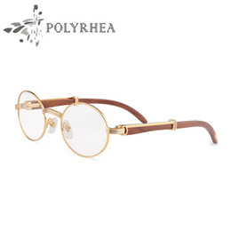 round metal eyewear 2021 - Hot Sale Wood Spectacles Frame Women Eyewear Original Metal Frame Fashion Men Glasses Frames Round Wooden Eye Glasses With Box And Cases