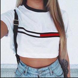 Midriffs Sexy Pas Cher-Hot Women Print Shirt Coton Sexy Top Blouse Chemises à manches courtes Plus Size Summer Midriff-Baring Slim Women Tops