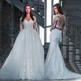 Detachable Bow Dress Canada - Charming Tulle Bateau Neckline Detachable Skirt Wedding Dresses With Lace Appliques Sheath Bridal Wedding Gowns Vestidos De Noiva