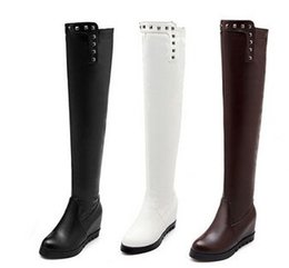 $enCountryForm.capitalKeyWord UK - New Arrival Hot Sale Specials Influx Sweet Girl Sexy Spike Retro Leather Rivets Punk Increased Elastic Stovepipe Wedge Knee Boots EU34-43