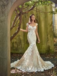 3d Castles Canada - Gorgeous Lace Applique Mermaid Wedding Dresses 3D Flower Sheer Jewel Neck Off Shoulder Trumpet Bridal Gown Chapel Train Castle Wedding Dress