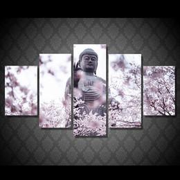 $enCountryForm.capitalKeyWord Canada - Framed 5 Panels set Buddha Statue Meditation,genuine Hand Painted Contemporary Home Decor Wall Art Oil Painting On Canvas.Multi sizes 012