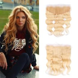 Virgin russian blonde hair online shopping - blonde lace frontal closure bleached knots virgin russian human hair blonde closure inch G EASY