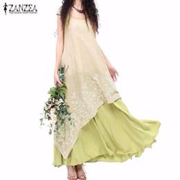 8d596781202e Wholesale- Vintage Vestidos ZANZEA Women Dress 2016 Summer Casual Loose O  Neck Short Sleeve Embroidery Long Maxi Dress Plus Size S-5XL