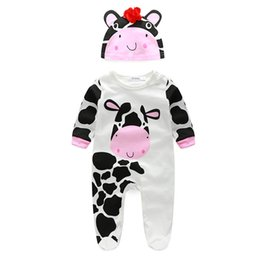 baby cow cartoon 2019 - Wholesale- New Animal Shapes baby Cotton Cartoon Series Hooded Romper Cow tiger lion panda Jumpsuit Climbing Clothes Chi