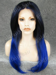 "$enCountryForm.capitalKeyWord NZ - S02 24"" Long #2 3500 Dark Brown Tip Blue Silky Straight Heat Friendly Synthetic Lace Front Two Tone Fashion Wig"