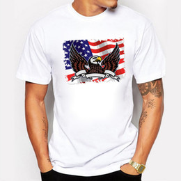 usa t shirt designs 2021 - Men T-shirts USA Flag Eagle Design Round Neck Cotton Short Sleeve Fitness Hip Hop Tshirt Camiseta discount usa t shirt d