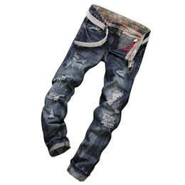 Torn Trousers Canada - Wholesale-Fashion Brand Designer Mens Torn Jeans Pants Washed Slim Fit Distressed Denim Joggers Dark Blue Ripped Jean Trousers Man LQ073