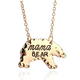 Chinese  Hot Sale Cute animal necklace jewelry wholesale Bear necklace Mama bear Lettering handmade necklace Warm motherly love Christmas gift manufacturers