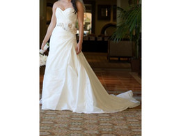 Dress Cor Australia - Real Made Taffeta COR-1032 A Line Sweetheart Ruched Pleating Draped Ribbon Flower Sash Custom Made Bridal Gown Wedding Dresses