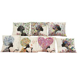 $enCountryForm.capitalKeyWord UK - Floral Girl Pattern Linen Cushion Cover Home Office Sofa Square Pillow Case Decorative Cushion Covers Pillowcases Without Insert(18*18Inch)