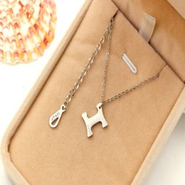 $enCountryForm.capitalKeyWord Australia - The new version of simple slant angle H letter necklace fashion women's 18K rose gold plated titanium bone Necklace