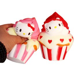 China 10Pcs 12cm Jumbo Squishy Hello Kitty Ice cream cone Puff Cake Phone Strap Cat Charms Slow Rising Kid Toy Gift supplier iced apple suppliers
