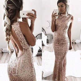 Barato Vestidos De Ouro Integral-2017 Sexy Rose Gold Backless Mermaid Sequins Long Prom Dresses High Neck Full Length Elegante Vintage Longa Maid Of Honor Evening Gowns BA4773