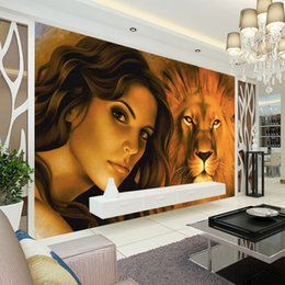 $enCountryForm.capitalKeyWord Canada - Hand Painted wallpaper oil painting Wall mural Custom 3D Photo wallpaper for walls Bedroom Living room Designer Room decor Beauty and lion