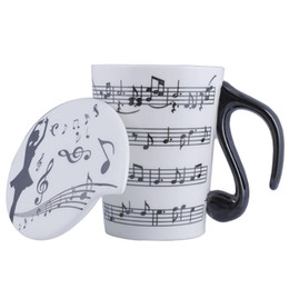 tea music note UK - Creative Ceramic Musician Coffee Mug Tea Cup with Lid Music Notes as Valentine's Day Gift Teacher Gifts