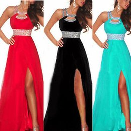 Barato Vestidos De Baile Para Atacado-Venda por atacado - 2016 New Arrival Women Long Sexy Dress Vestido Sequined Strappy Ball Prom Gown Formal Bridesmaid Low Cut Chiffon Dress