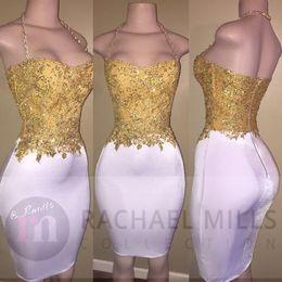 $enCountryForm.capitalKeyWord Australia - 2017 New Little White Short Prom Dresses Gold Lace Appliqued Top Halter Neck Sheath Cocktail Dresses Cheap Formal Party Wear