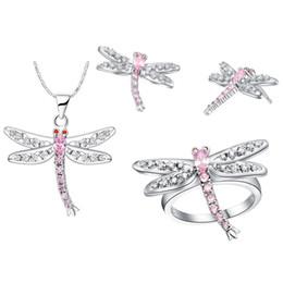 Venta al por mayor de Mujer para mujer, regalo, joyas de plata, anillo de aretes en forma de estrella, plata de ley 925, de alta gama, con diseño de libélula de cristal estadounidense, rosa