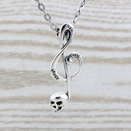 musical note necklaces NZ - MIC 20pcs lot Antique Silver alloy Skull musical note charm Pendant Necklaces 20 inches Chains 39x15mm c24