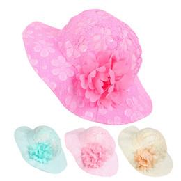 Ingrosso Il cappello solido del merletto solido del merletto del cappello della neonata delle neonate fiorisce il cappello 2017 di estate di modo della ragazza del cofano del cappello della benna della spiaggia