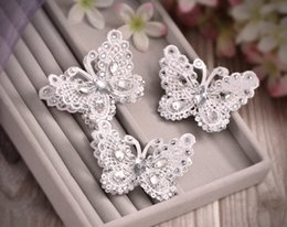 Hair jewels online shopping - In Stock high quality beautiful Crystal butterfly lace hair clip Rhinestone Jewels Hair Accessory Bling Wedding bridal Headpiece SA09