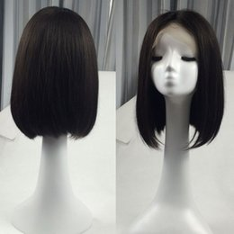 Brazilian virgin hair glueless wig online shopping - Glueless Lace Front Virgin Human Hair Wigs Short Bob Wig Silky Straight Style Neat Ends Middle Part inch