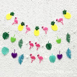 Verano Hawaiano Baratos-Flamingo y hojas de Cocunut Garland Fiesta de Verano Garland Birthday Photo Prop Piscina Tropical Luau Piscina Hawaiana Decoración Flamingo 7xl J R