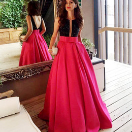 red cowl neck evening dresses Australia - Two Tone Ballgown Formal Evening Dresses Black Crystal Boat Neck Deep V Open Back with Sash Long Pageant Prom Gowns