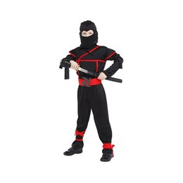 cosplay for children UK - Children Boys Japanese Black Ninja Warrior Cosplay Fancy Dress Clothing Set For Halloween Carnival Party Supplies