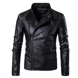 Motorcycle Jacket Stand Collar NZ - High Quality Men's Leather Motorcycle Jackets Plus Size Fashion 5XL Winter Stand Collar Fur Male Bomber Braided Rope Jacket Coat T170706