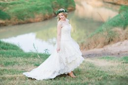 Low back wedding dress bodice online shopping - Lace High Low Country Wedding Dresses Plus Size with Tiered Skirt and Lace Up Back Bohemia Bridal Gowns Handmade vestidos de novia