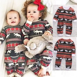 $enCountryForm.capitalKeyWord Australia - hot selling Christmas Family Matching Pajamas Set deer printed sets Kids fashion rompers baby girls boys Nightwear Cotton top outfits