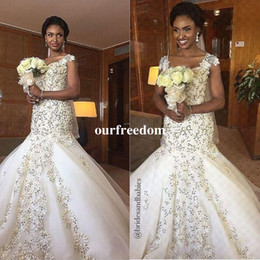 new africa wedding dresses NZ - 2019 New Fashion Fully Beaded Lace Sparkly Mermaid Wedding Dresses Sexy Nigeria South Africa Cap Sleeve Cheap Wedding Bridal Gown