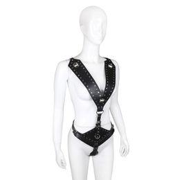 $enCountryForm.capitalKeyWord UK - Sex Games Leather Bondage Harness Lingerie Rivet Decor Female Chastity Belt Body Restraints Suit Fetish Adult Sex Toys For Couples