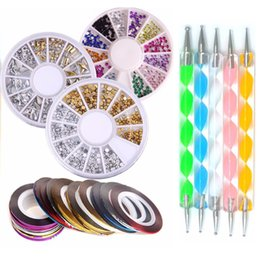 Kit De Uñas De Cristal Baratos-Bittb Nail Art Kit Herramientas Nail Rhinestones Rolls Dotting Pen Cuidado Manicura Beauty Set 3D Glitter Nails Brush Crystal Decoraciones