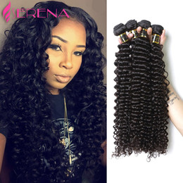 malaysian remy weave bundles Canada - Grade 8A Malaysian Virgin Weave Human Hair Extensions Deep Wave Malaysian Curly 3 Bundles Deep Kinky Curly Remy Human Hair Weave Bundles